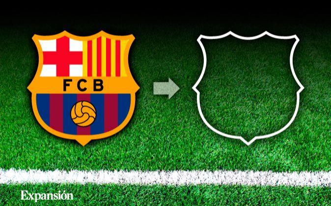 El escudo del Fútbol Club Barcelona (a la izquierda) y el signo...