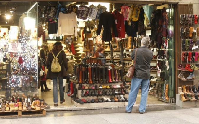 Tienda de una zona comercial del centro de Madrid, en la semana previa...