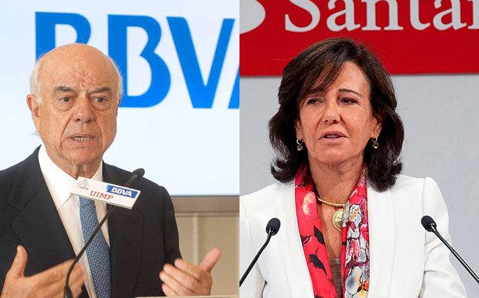 El presidente de BBVA, Francisco González, y la presidenta de...