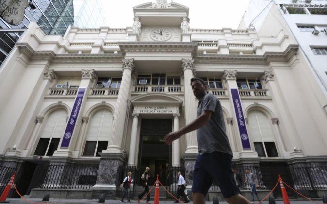 Vista del exterior del Banco Central de Argentina