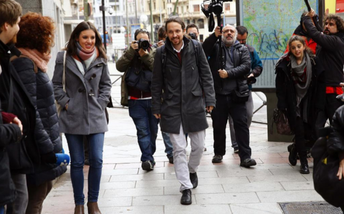 El líder de Podemos, Pablo Iglesias, ayer a su llegada a la sede del...
