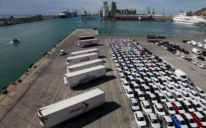 Coches para exportación en el Puerto de Barcelona el pasado 14 de...