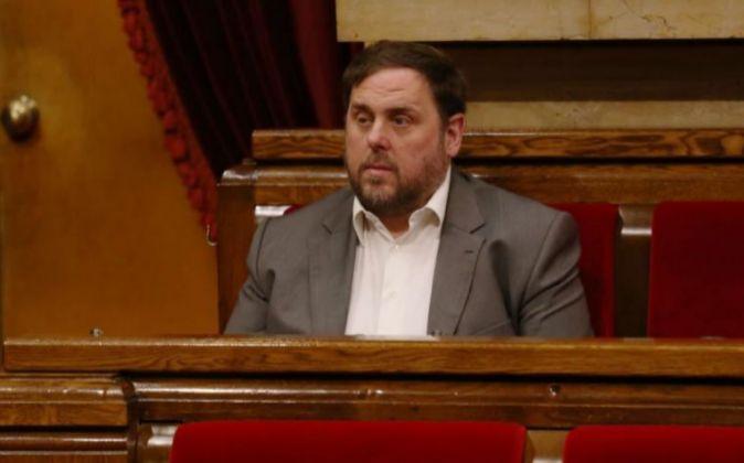 El líder de ERC, Oriol Junqueras, en el pleno de investidura del...