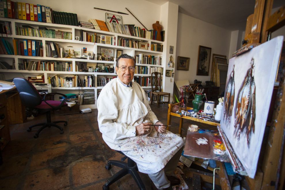 Aguayo, 83 años, fotografiado en su estudio cordobés.