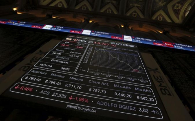 Monitor informativo en la bolsa de Madrid.