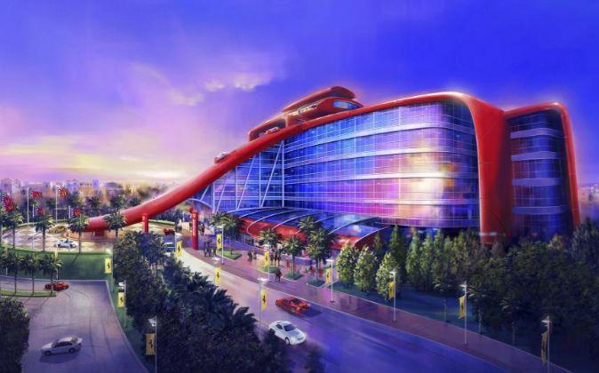 Imagen virtual del futuro parque temático Ferrari Land, que se...