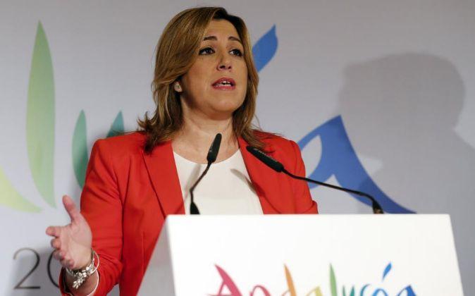 La presidenta de Andalucía, Susana Díaz, durante su intervención en...