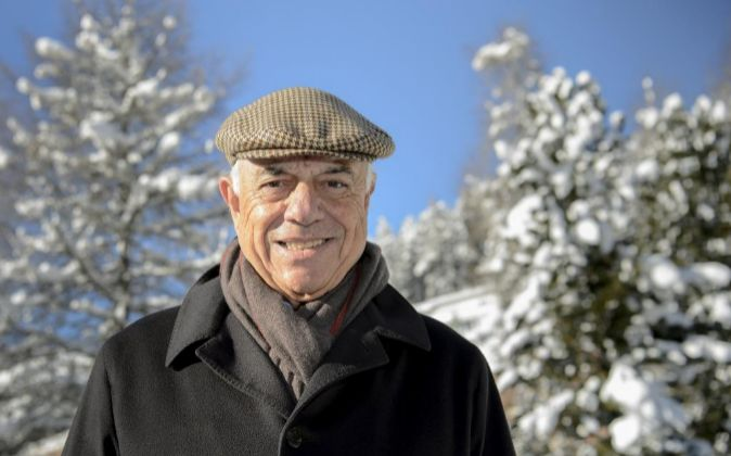 El presidente de BBVA, Francisco González, hoy en Davos.