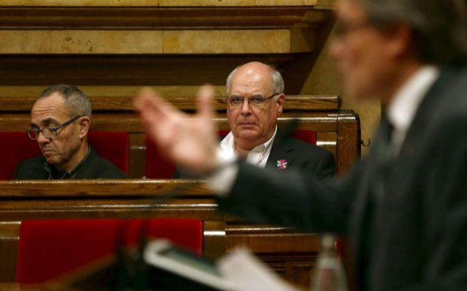 Los diputados de Catalunya Sí que es Pot Lluis Rabell  y Joan...