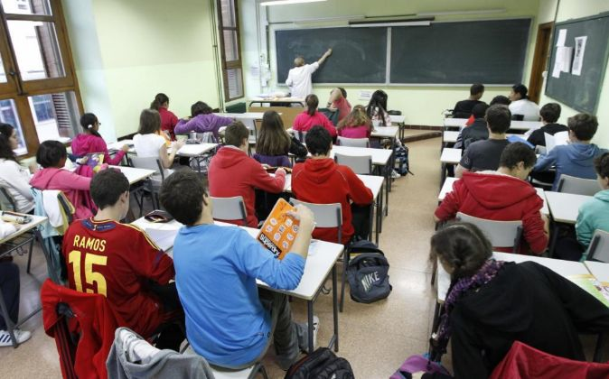 Vista general de una de las aulas hoy en el IES Cervantes de Madrid.