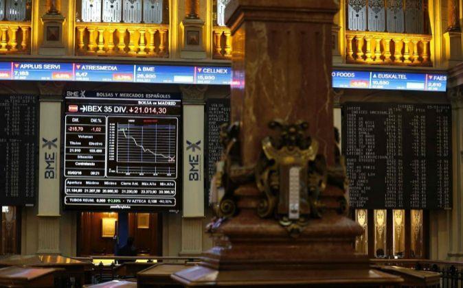 Interior de la Bolsa de Madrid.