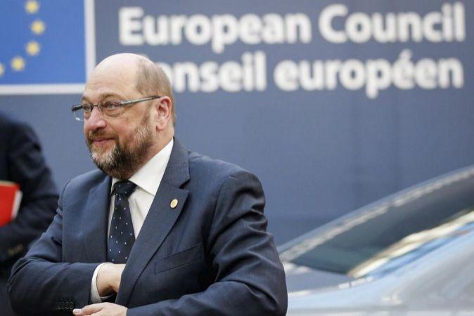 El presidente del Parlamento Europeo (PE), Martin Schulz, a su llegada...