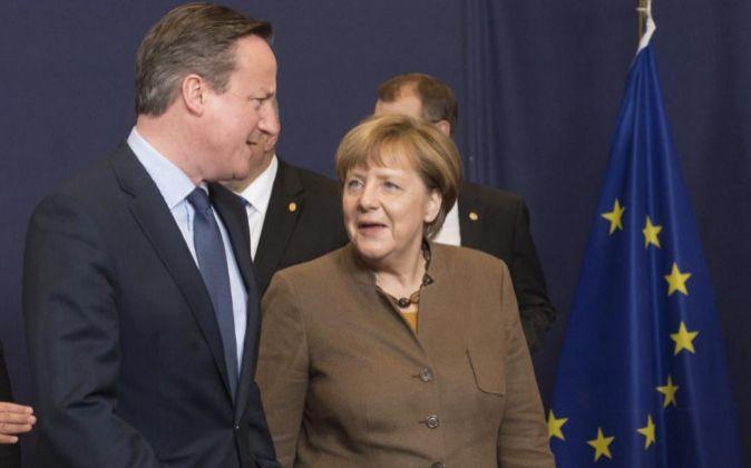 David Cameron y Angela Merkel.