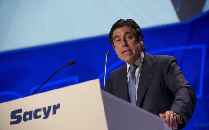 Manuel Manrique, presidente de Sacyr, durante la junta de accionistas...