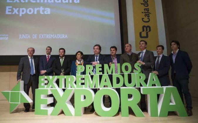 Fernández Vara durante los premios 'Extremadura Exporta'