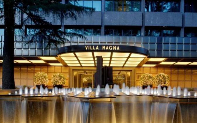 Exterior del Hotel Villa Magna, situado en el Paseo de la Castellana...
