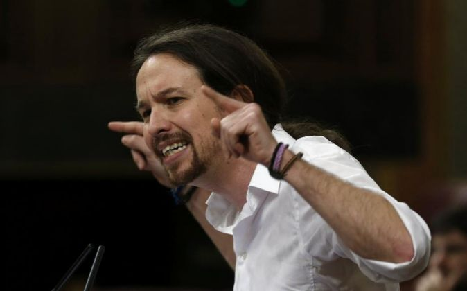 Pablo Iglesias, durante su intervención en el debate de investidura