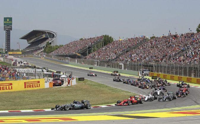 Salida del Gran Premio de España de F1 de 2015.