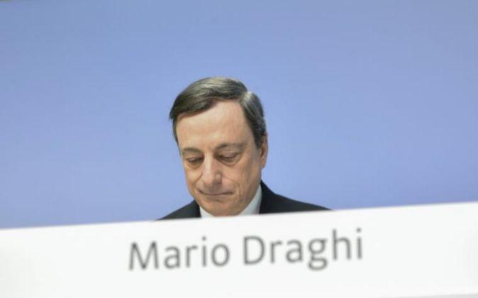 El presidente del BCE, Mario Draghi, durante la rueda de prensa...