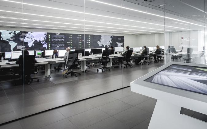 La sala de la sede central de Inditex (en Arteixo, La Coruña) donde...
