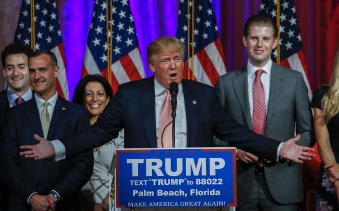 El magnate inmobiliario Donald Trump durante su discurso del martes en...