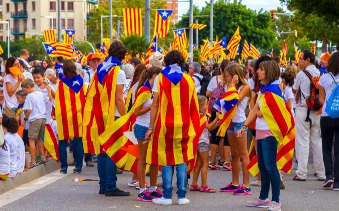 Última manifestación de la Diada a favor de la independencia, en...