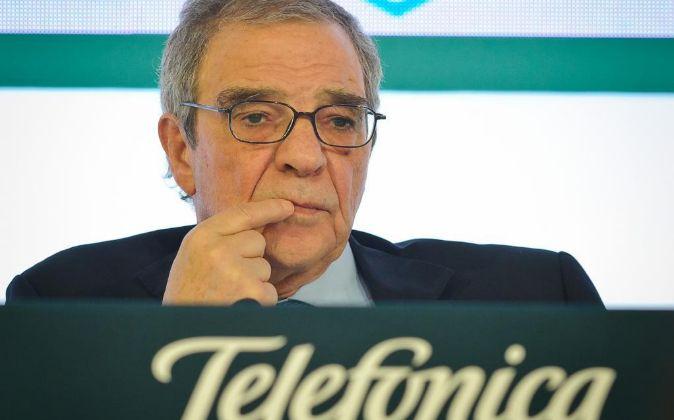 César Alierta, durante la presentación de los resultados de...