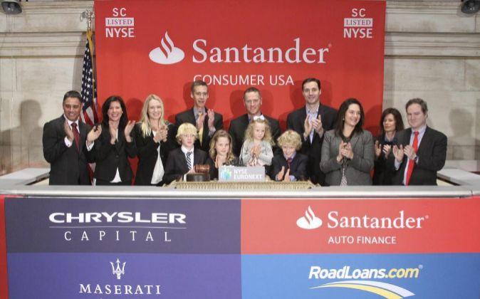 Imagen de la salida a bolsa de Santander Consumer en Wall Street