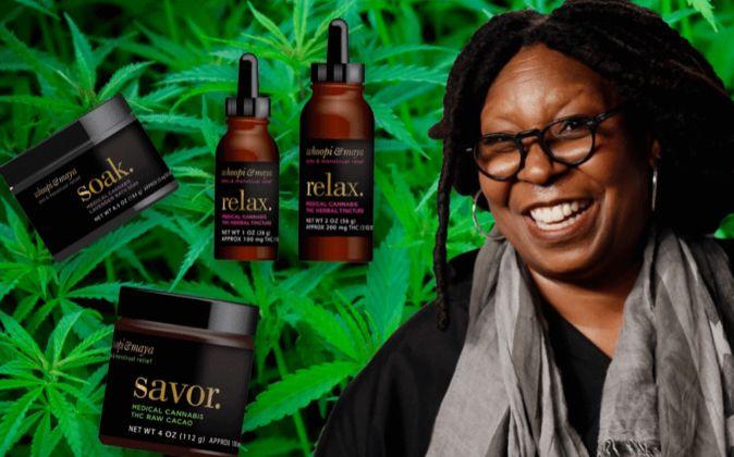 Fotomontaje de Whoppi Goldberg con algunos de sus productos, legales,...