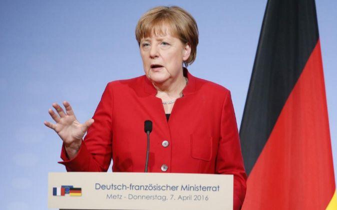 La canciller alemana, Angela Merkel, en rueda de prensa.