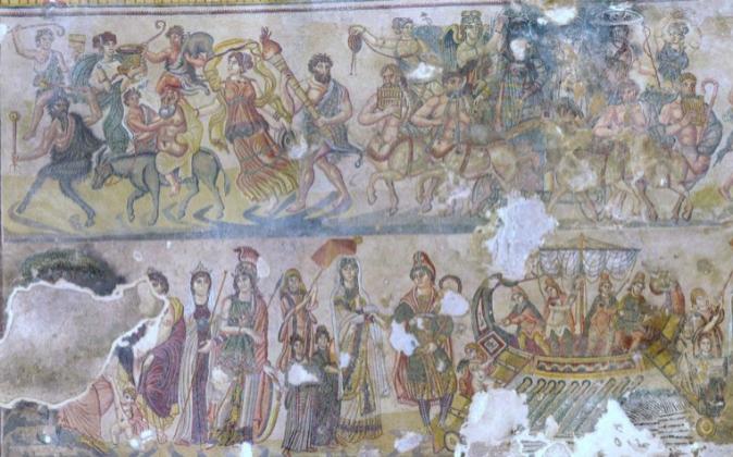 Detalle del mosaico romano encontrado en la finca.