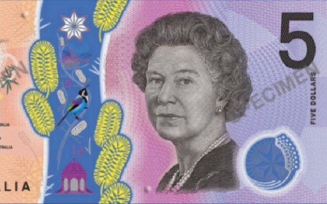 Nuevo diseño del billete de 5 dólares australiano.