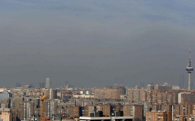 Panorámica de Madrid donde se aprecia la polución.