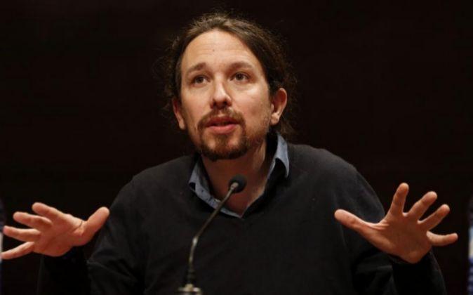 El líder de Podemos, Pablo Iglesias, durante la presentación del...