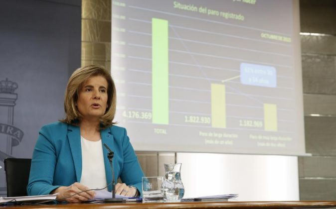 La ministra de Trabajo y Seguridad Social en funciones Fátima...