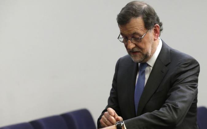 El presidente del Gobierno en funciones, Mariano Rajoy, ayer en el...