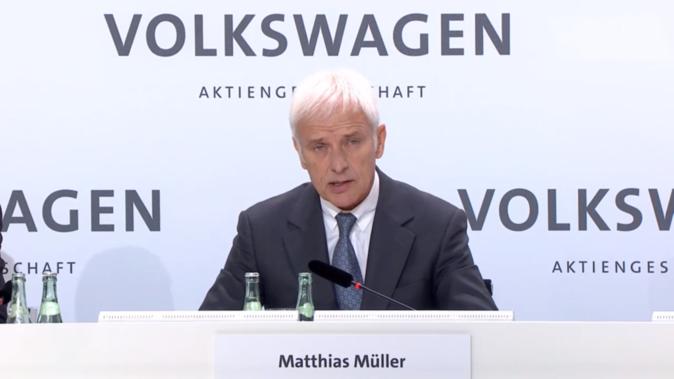 Matthias Müller, consejero delegado del grupo Volkswagen, durante la...