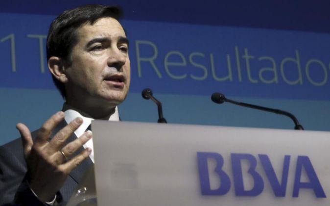 El consejero delegado de BBVA, Carlos Torres, durante la presentación...