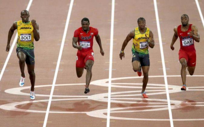 Final de los 100 metros masculinos en los JJOO de Londres 2012