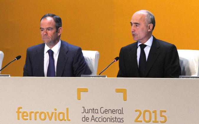 Rafael del Pino e Iñigo Meirás en la junta de accionistas de 2015.