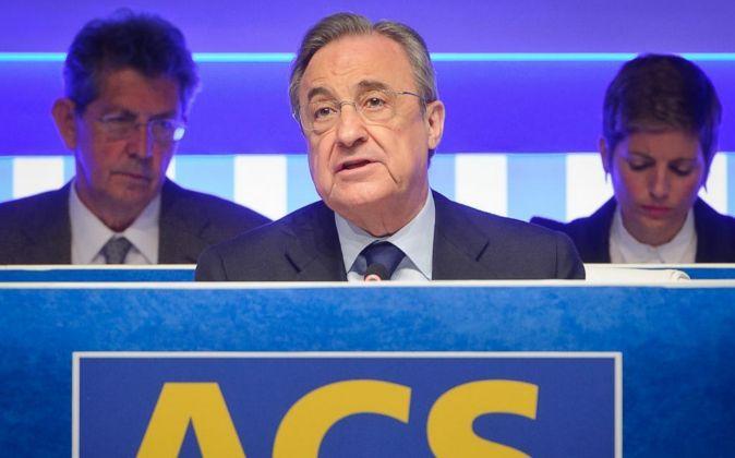 Florentino Pérez, presidente de ACS, durante la junta de accionistas.