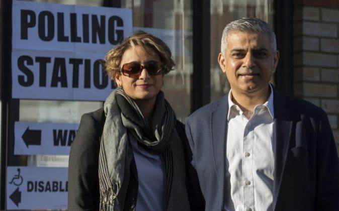 El candidato a la alcaldía de Londres del partido Laborista Sadiq...