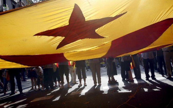 """Una """"estelada"""" o bandera independentista."""