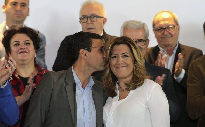 La secretaria general del PSOE de Andalucía y presidenta del Gobierno...