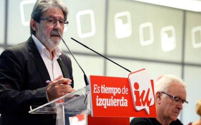 El secretario de Organización de IU, Adolfo Barrena, durante su...