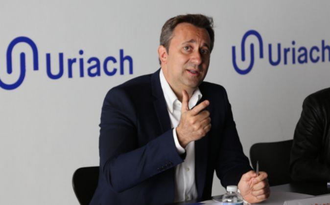 El consejero delegado de Uriach, Oriol Segarra, en rueda de prensa