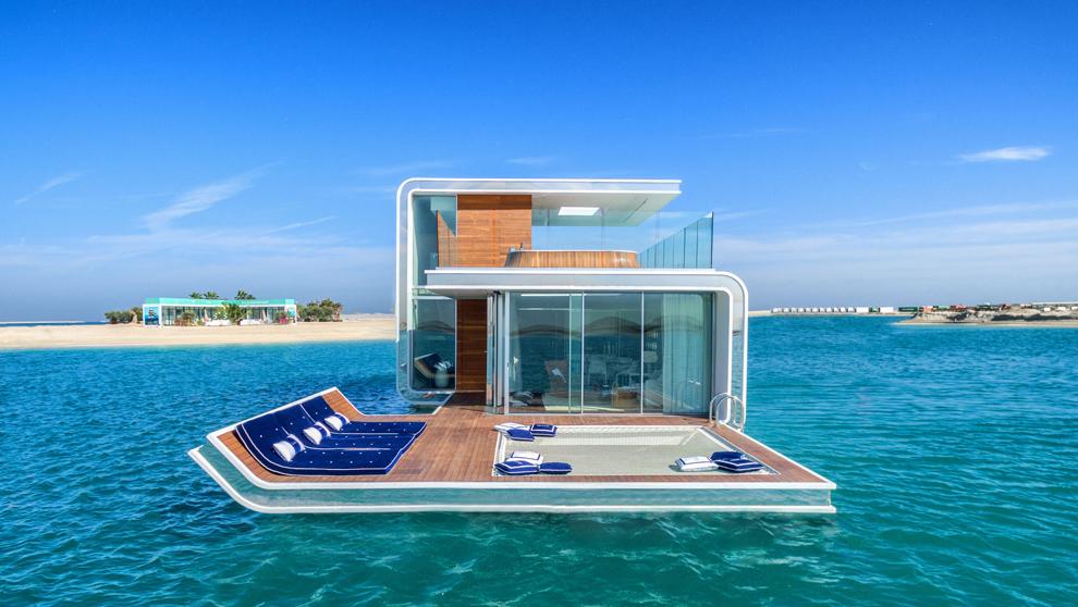 Cada villa flotante tiene una extensión de 372 metros cuadrados...