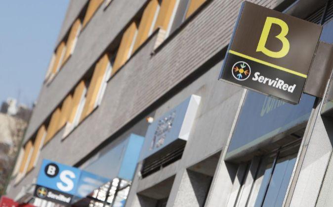 Sucursales de Bankia y Sabadell en Madrid.