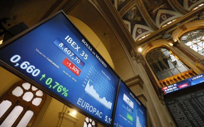Panel informativo del principal indicador de la bolsa española, el...