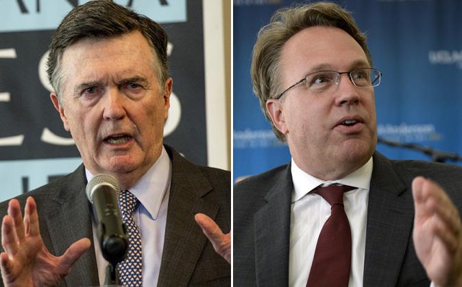 El presidente de la Fed de Atlanta, Dennis Lockhart (i) y el de la Fed...